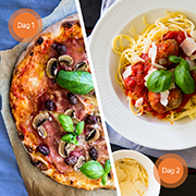 Pizza og spaghetti meat balls