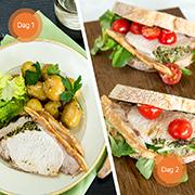 Grøn flæskesteg og sandwich med gris
