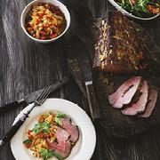 Fyldt roastbeef med hvidvinssauce